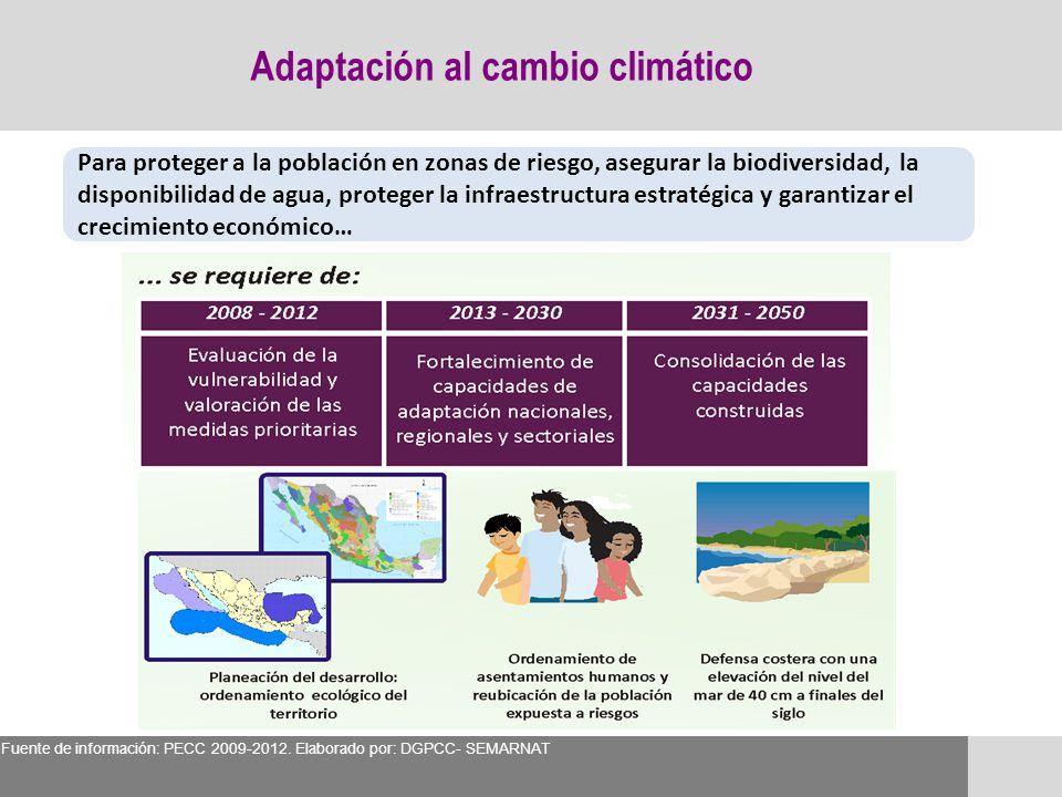 Adaptación al cambio climático Para proteger a la población en zonas de riesgo, asegurar la biodiversidad, la disponibilidad de agua, proteger la infr
