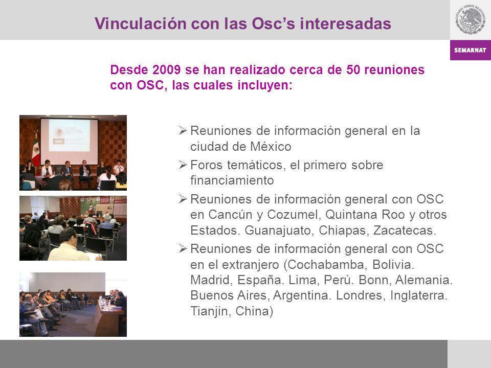 Vinculación con las Oscs interesadas Reuniones de información general en la ciudad de México Foros temáticos, el primero sobre financiamiento Reunione