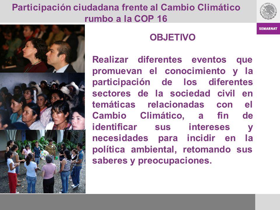 Participación ciudadana frente al Cambio Climático rumbo a la COP 16 OBJETIVO Realizar diferentes eventos que promuevan el conocimiento y la participa