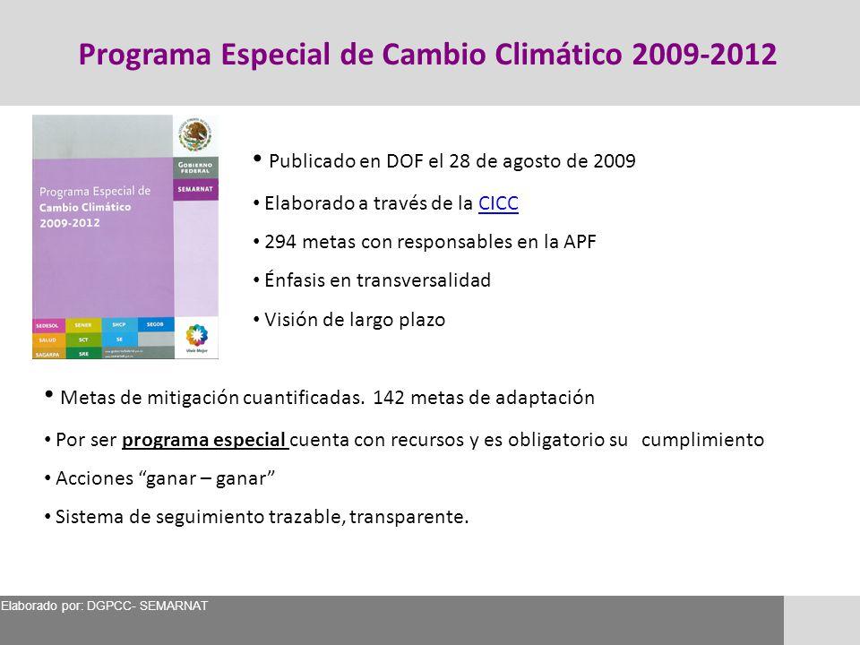 Publicado en DOF el 28 de agosto de 2009 Elaborado a través de la CICCCICC 294 metas con responsables en la APF Énfasis en transversalidad Visión de l