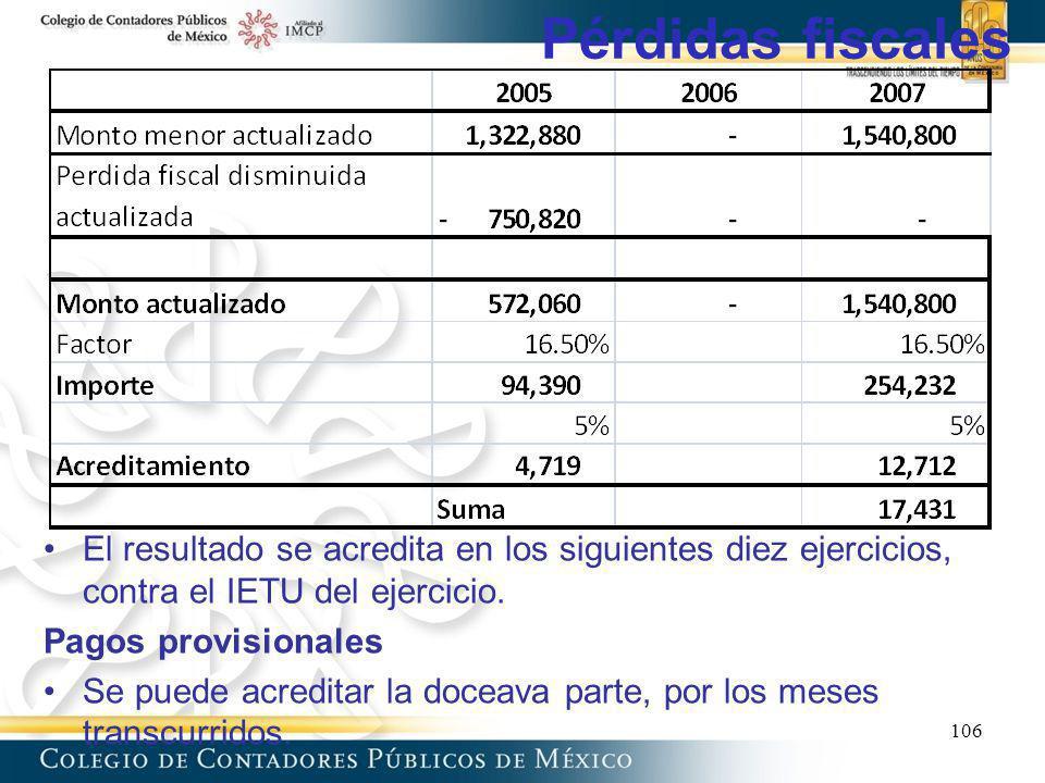 Pérdidas fiscales 106 El resultado se acredita en los siguientes diez ejercicios, contra el IETU del ejercicio. Pagos provisionales Se puede acreditar