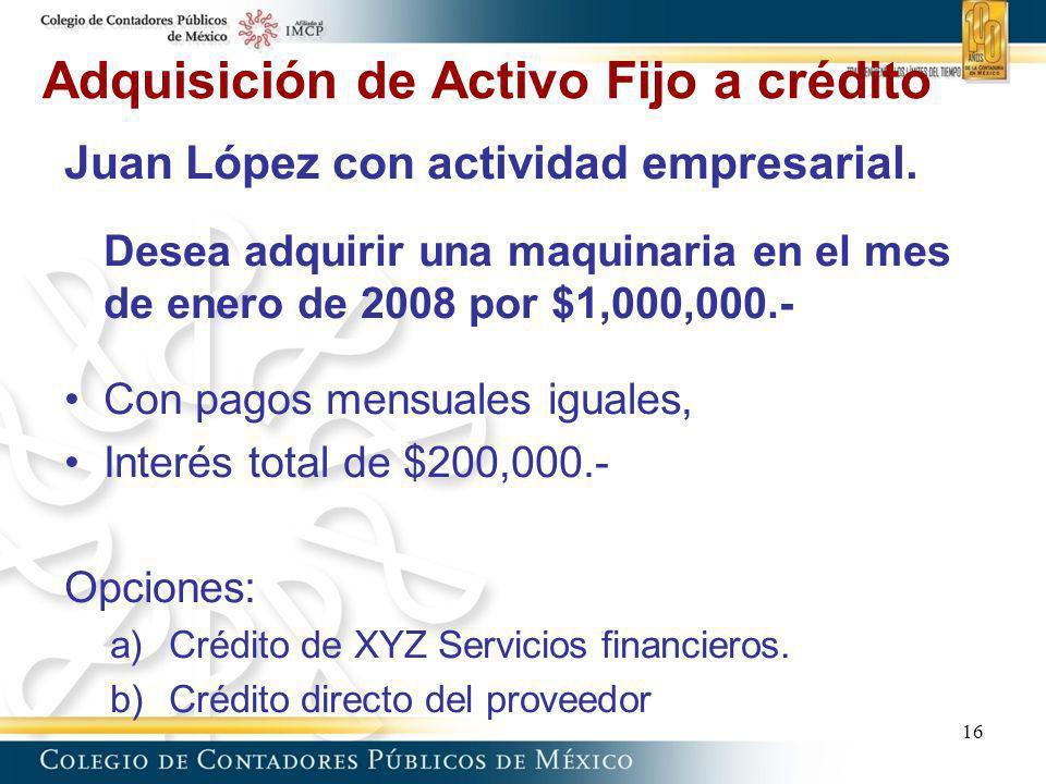 Adquisición de Activo Fijo a crédito Juan López con actividad empresarial. Desea adquirir una maquinaria en el mes de enero de 2008 por $1,000,000.- C