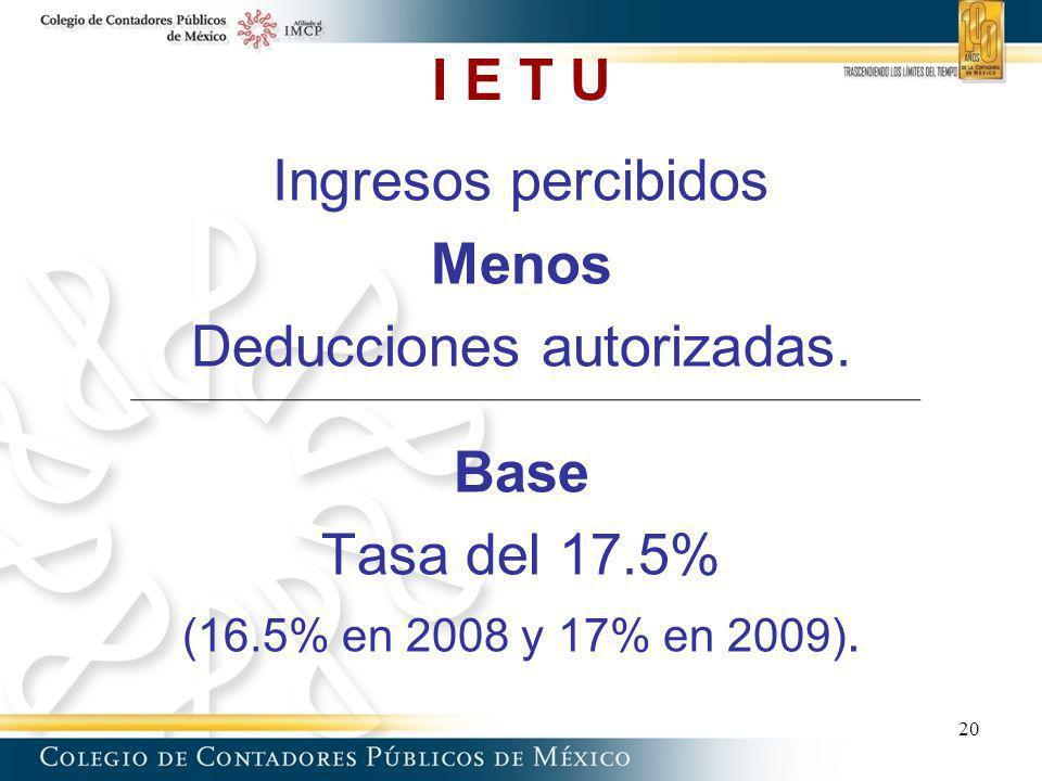 I E T U Ingresos percibidos Menos Deducciones autorizadas. Base Tasa del 17.5% (16.5% en 2008 y 17% en 2009). 20