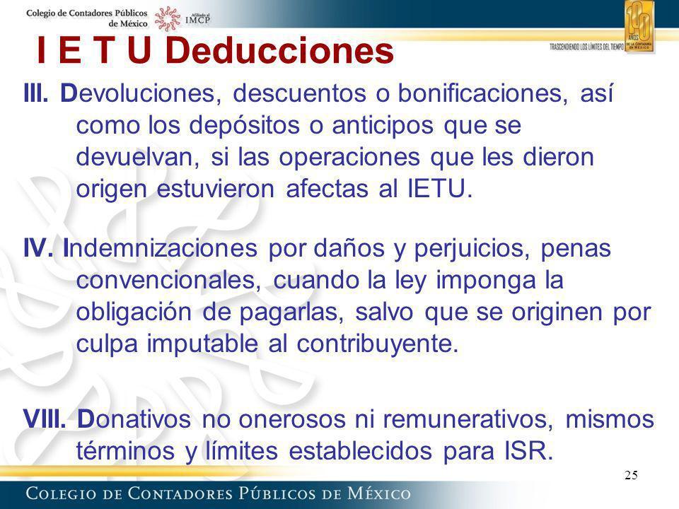 I E T U Deducciones III. Devoluciones, descuentos o bonificaciones, así como los depósitos o anticipos que se devuelvan, si las operaciones que les di