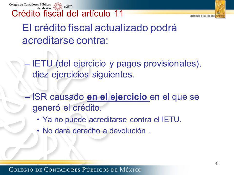 Crédito fiscal del artículo 11 El crédito fiscal actualizado podrá acreditarse contra: –IETU (del ejercicio y pagos provisionales), diez ejercicios si