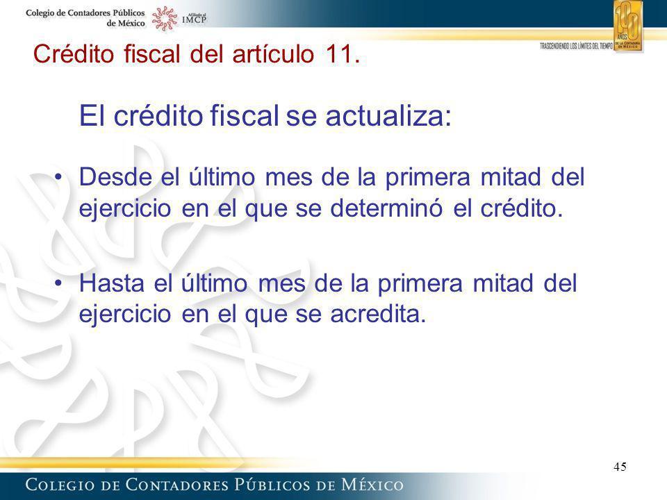 Crédito fiscal del artículo 11. El crédito fiscal se actualiza: Desde el último mes de la primera mitad del ejercicio en el que se determinó el crédit
