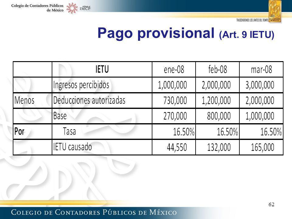 Pago provisional (Art. 9 IETU) 62