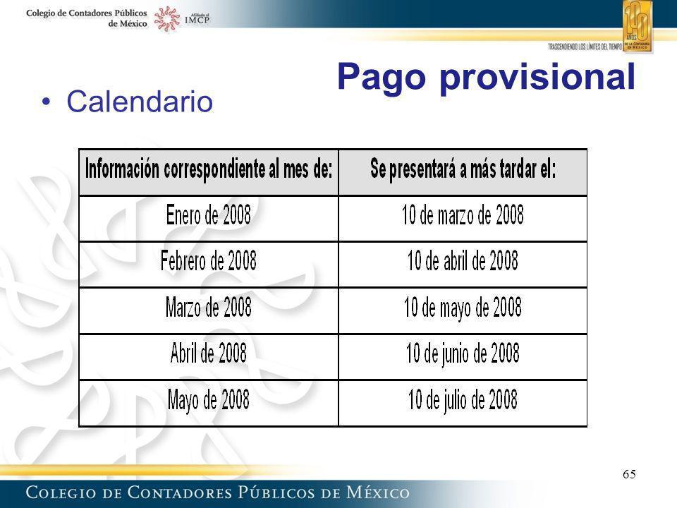 Pago provisional 65 Calendario