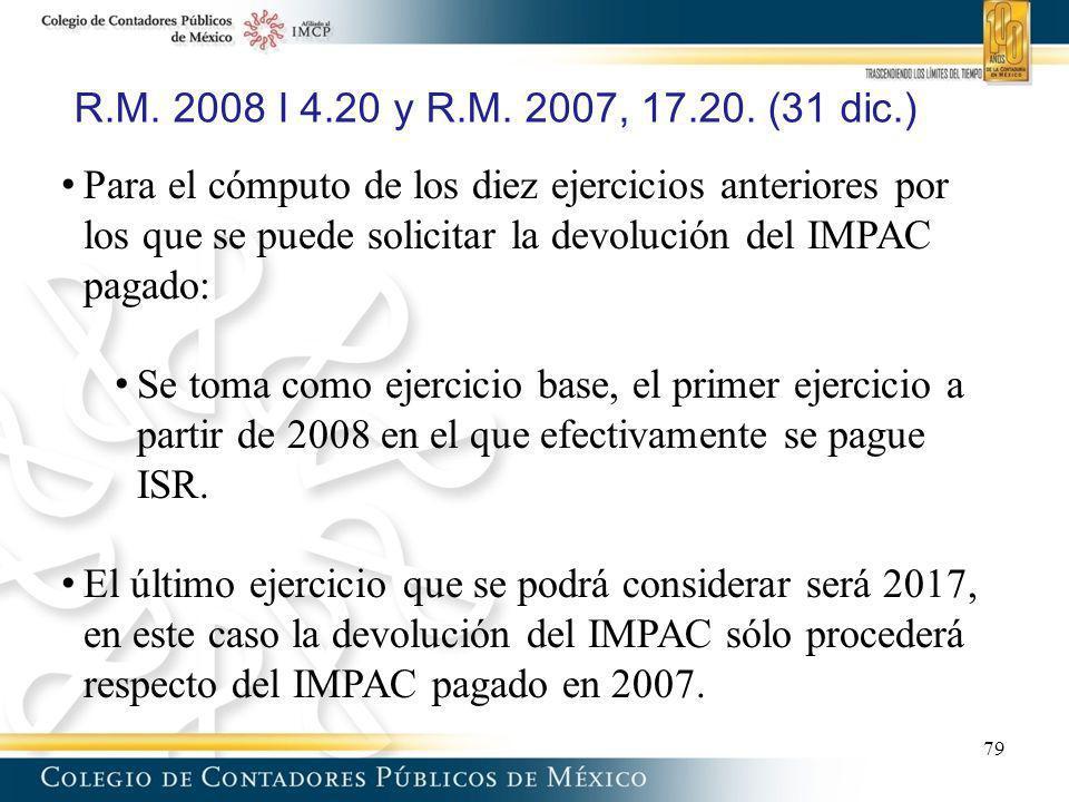 R.M. 2008 I 4.20 y R.M. 2007, 17.20. (31 dic.) Para el cómputo de los diez ejercicios anteriores por los que se puede solicitar la devolución del IMPA