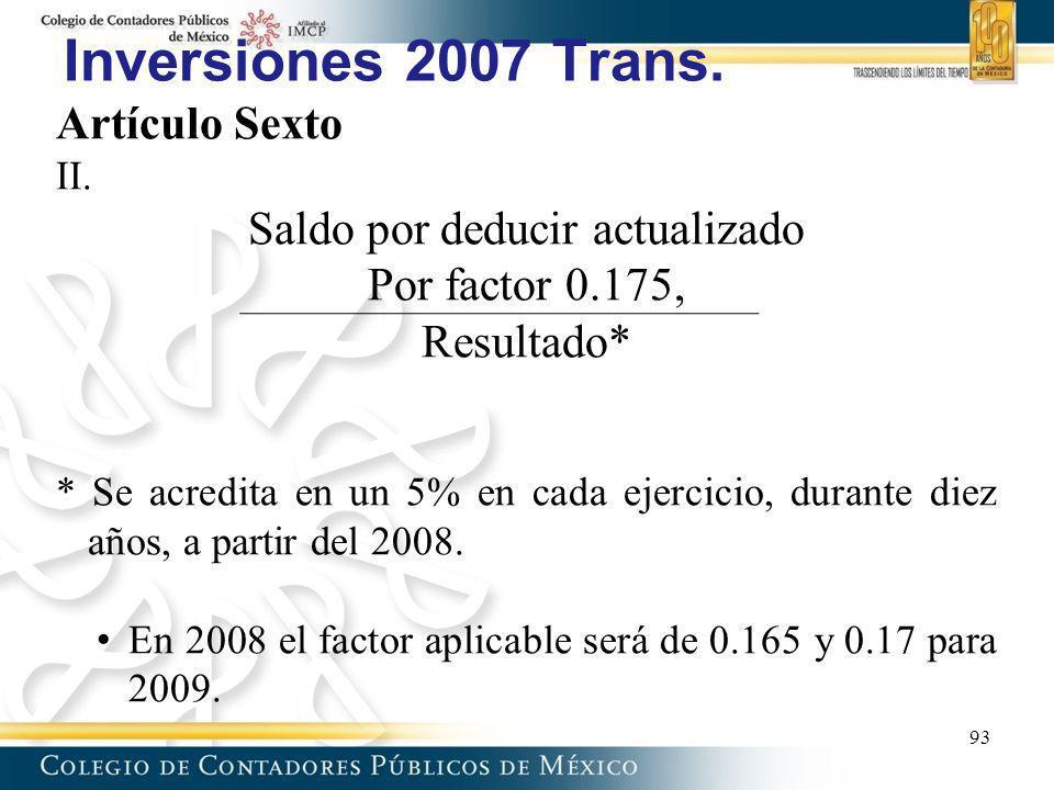 Inversiones 2007 Trans. Artículo Sexto II. Saldo por deducir actualizado Por factor 0.175, Resultado* * Se acredita en un 5% en cada ejercicio, durant