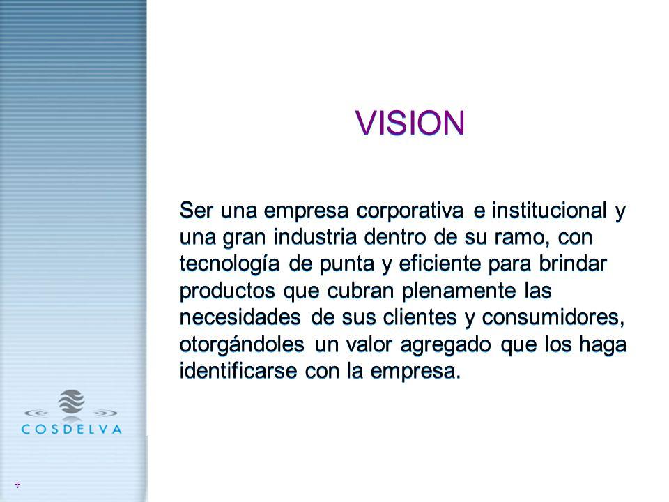 VISION Ser una empresa corporativa e institucional y una gran industria dentro de su ramo, con tecnología de punta y eficiente para brindar productos