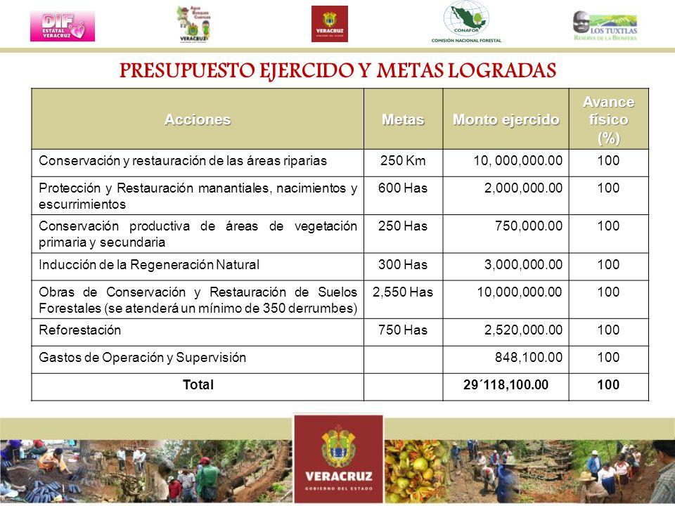 PRESUPUESTO EJERCIDO Y METAS LOGRADAS AccionesMetas Monto ejercido Avance físico (%) Conservación y restauración de las áreas riparias250 Km10, 000,00