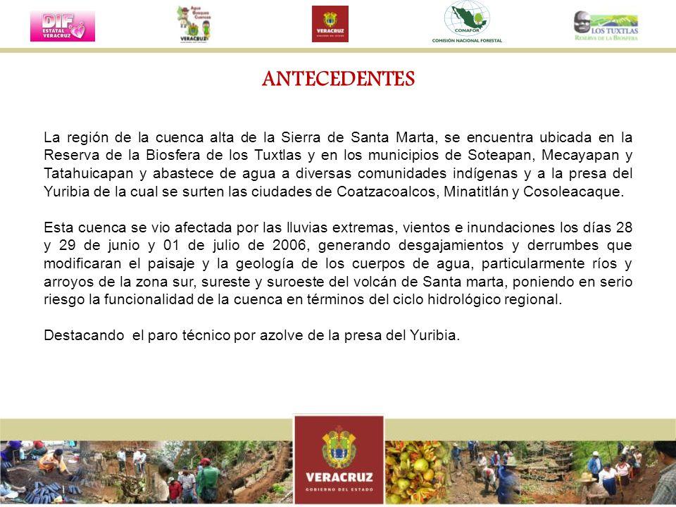 ANTECEDENTES La región de la cuenca alta de la Sierra de Santa Marta, se encuentra ubicada en la Reserva de la Biosfera de los Tuxtlas y en los munici