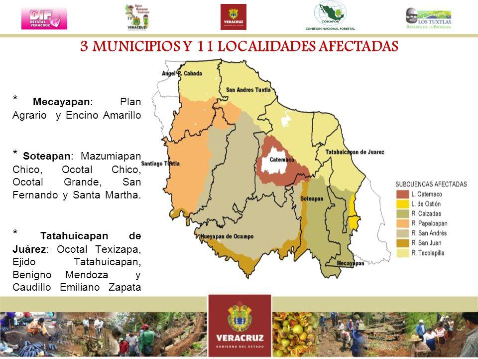 * Mecayapan: Plan Agrario y Encino Amarillo * Soteapan: Mazumiapan Chico, Ocotal Chico, Ocotal Grande, San Fernando y Santa Martha. * Tatahuicapan de