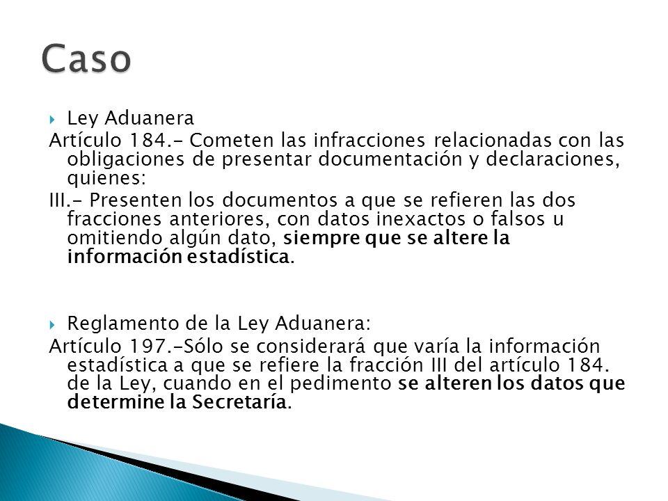 Ley Aduanera Artículo 184.- Cometen las infracciones relacionadas con las obligaciones de presentar documentación y declaraciones, quienes: III.- Pres