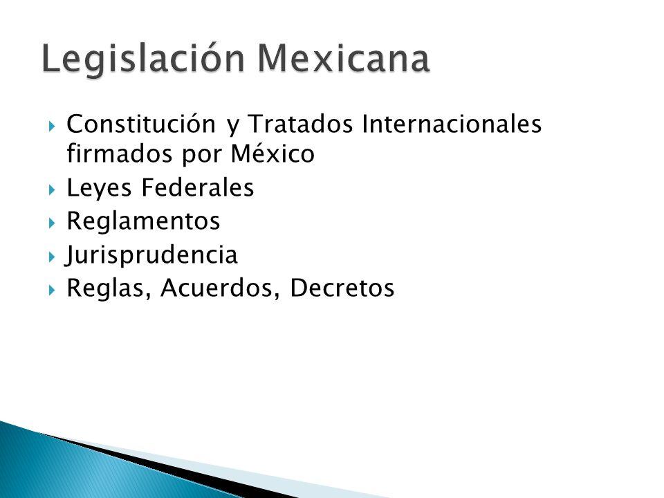 Constitución y Tratados Internacionales firmados por México Leyes Federales Reglamentos Jurisprudencia Reglas, Acuerdos, Decretos