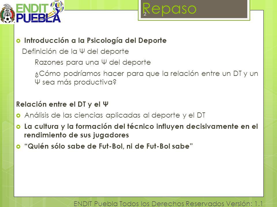 2 ENDIT Puebla Todos los Derechos Reservados Versión: 1.1 Repaso Introducción a la Psicología del Deporte Definición de la Ψ del deporte Razones para