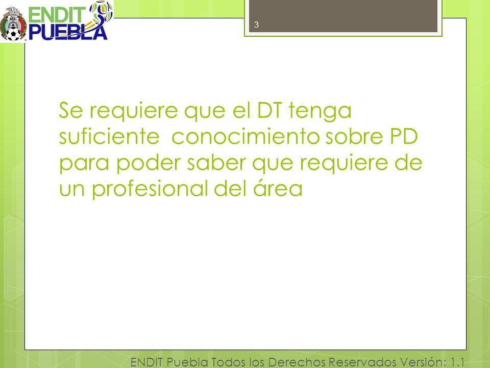 3 ENDIT Puebla Todos los Derechos Reservados Versión: 1.1 Se requiere que el DT tenga suficiente conocimiento sobre PD para poder saber que requiere d