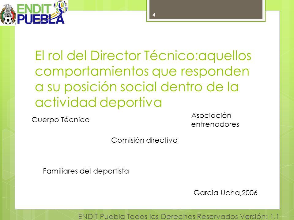 4 ENDIT Puebla Todos los Derechos Reservados Versión: 1.1 El rol del Director Técnico:aquellos comportamientos que responden a su posición social dent