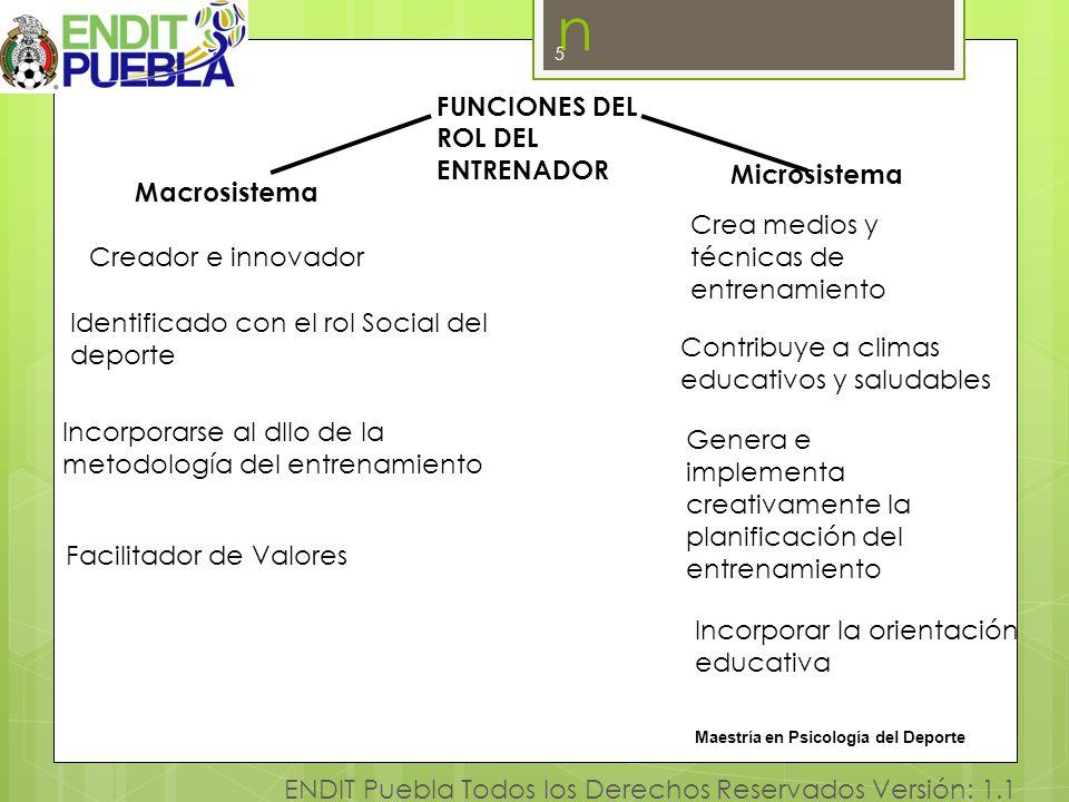5 ENDIT Puebla Todos los Derechos Reservados Versión: 1.1 Investigación n 5 FUNCIONES DEL ROL DEL ENTRENADOR Microsistema Macrosistema Crea medios y t