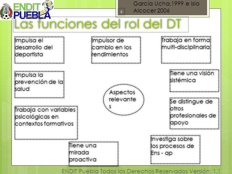 6 ENDIT Puebla Todos los Derechos Reservados Versión: 1.1 Las funciones del rol del DT Tiene una visión sistémica 66 Aspectos relevante s Tiene una mi