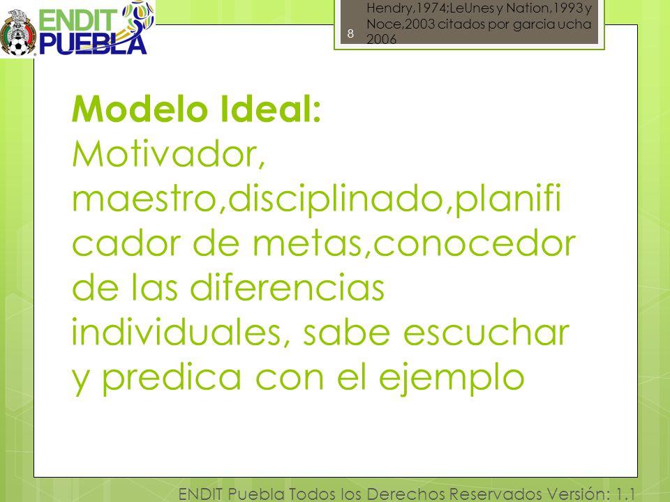 8 ENDIT Puebla Todos los Derechos Reservados Versión: 1.1 Modelo Ideal: Motivador, maestro,disciplinado,planifi cador de metas,conocedor de las difere