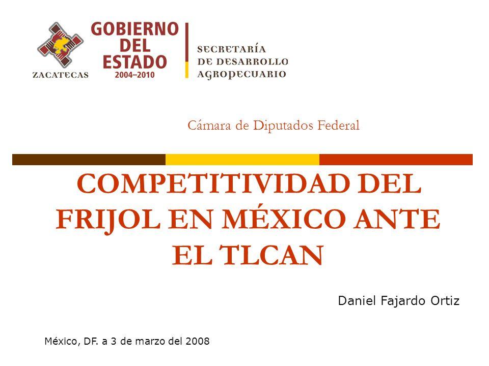 COMPETITIVIDAD DEL FRIJOL EN MÉXICO ANTE EL TLCAN Daniel Fajardo Ortiz Cámara de Diputados Federal México, DF. a 3 de marzo del 2008