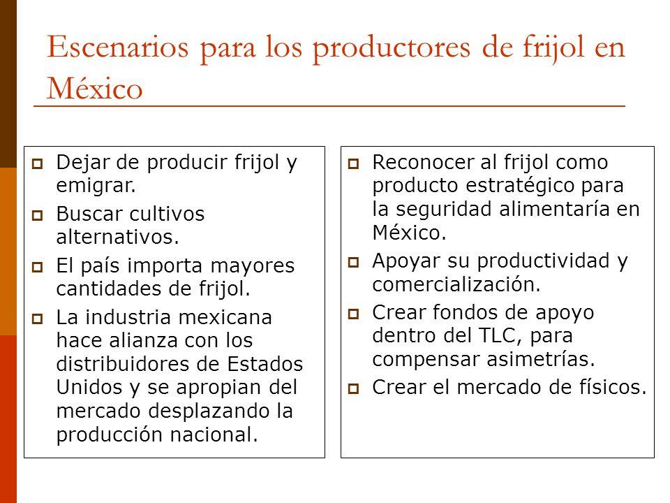 Escenarios para los productores de frijol en México Dejar de producir frijol y emigrar. Buscar cultivos alternativos. El país importa mayores cantidad