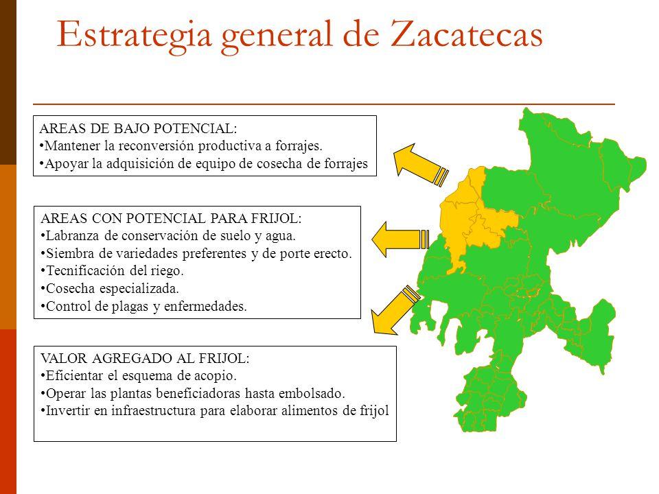 Estrategia general de Zacatecas AREAS DE BAJO POTENCIAL: Mantener la reconversión productiva a forrajes. Apoyar la adquisición de equipo de cosecha de