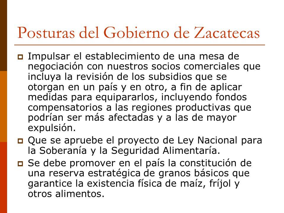 Posturas del Gobierno de Zacatecas Impulsar el establecimiento de una mesa de negociación con nuestros socios comerciales que incluya la revisión de l