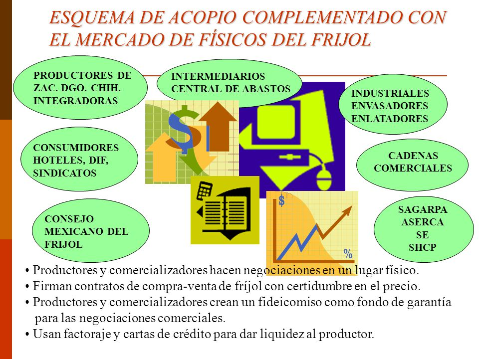 ESQUEMA DE ACOPIO COMPLEMENTADO CON EL MERCADO DE FÍSICOS DEL FRIJOL PRODUCTORES DE ZAC. DGO. CHIH. INTEGRADORAS INTERMEDIARIOS CENTRAL DE ABASTOS IND
