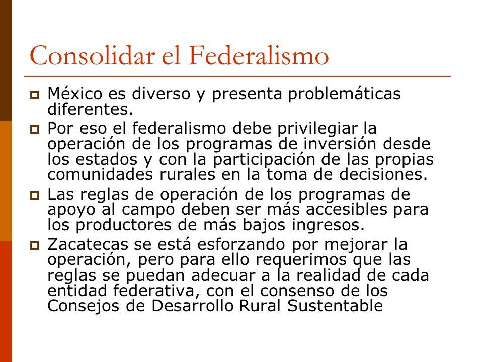 Consolidar el Federalismo México es diverso y presenta problemáticas diferentes. Por eso el federalismo debe privilegiar la operación de los programas