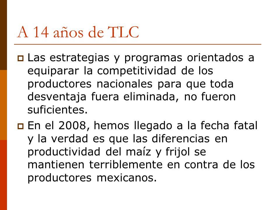 A 14 años de TLC Las estrategias y programas orientados a equiparar la competitividad de los productores nacionales para que toda desventaja fuera eli