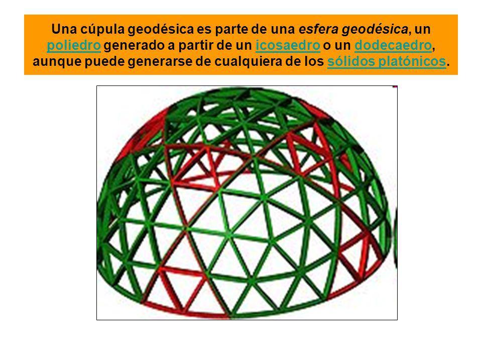 Una cúpula geodésica es parte de una esfera geodésica, un poliedro generado a partir de un icosaedro o un dodecaedro, aunque puede generarse de cualqu