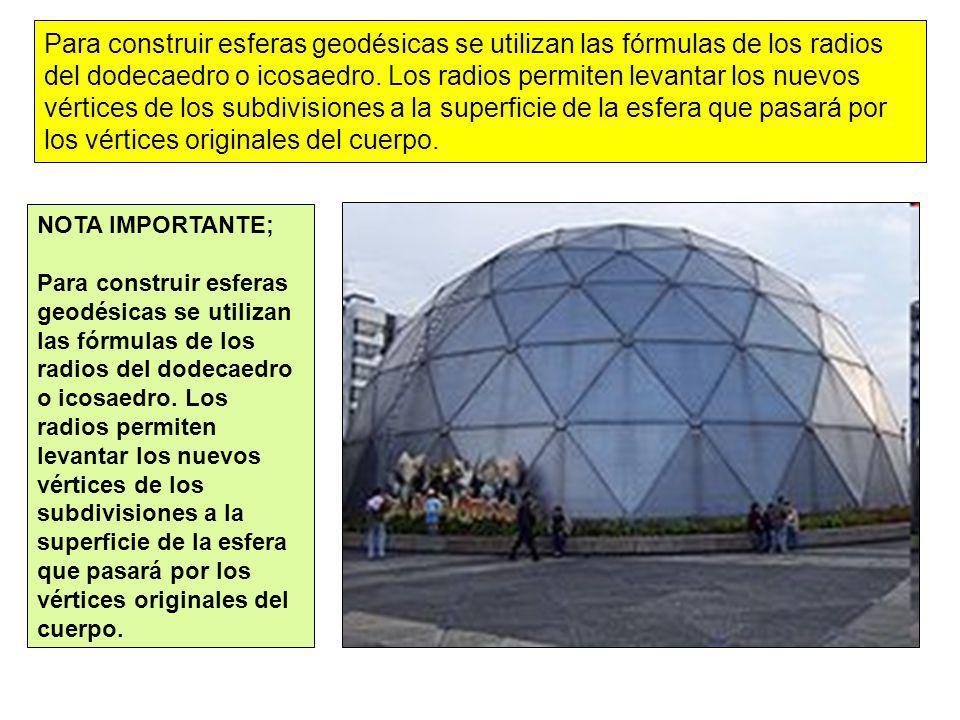 Para construir esferas geodésicas se utilizan las fórmulas de los radios del dodecaedro o icosaedro. Los radios permiten levantar los nuevos vértices