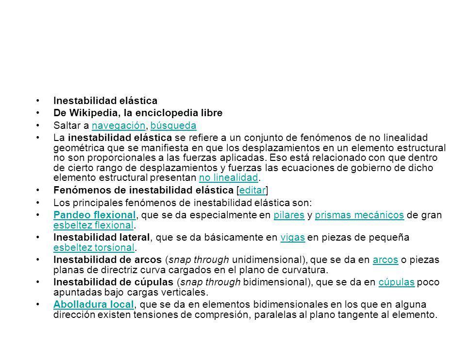Inestabilidad elástica De Wikipedia, la enciclopedia libre Saltar a navegación, búsquedanavegaciónbúsqueda La inestabilidad elástica se refiere a un c