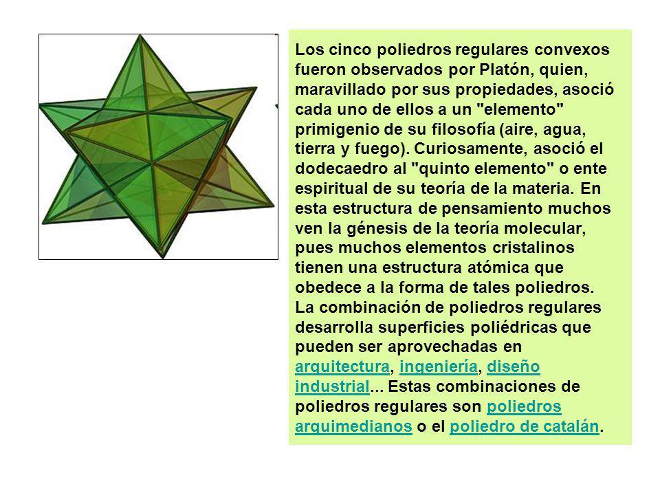 Los cinco poliedros regulares convexos fueron observados por Platón, quien, maravillado por sus propiedades, asoció cada uno de ellos a un