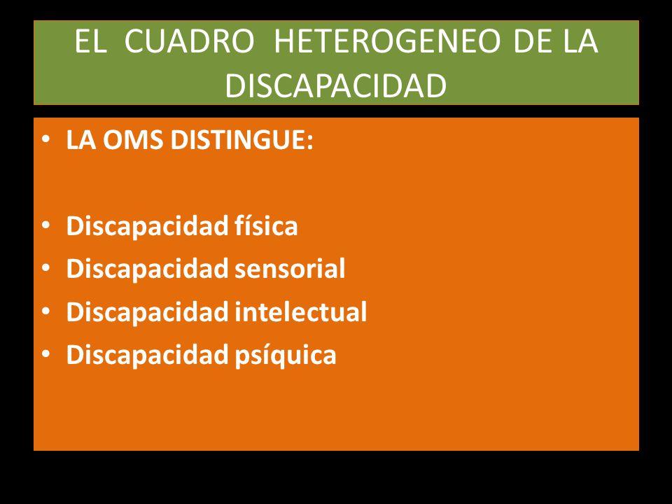 EL CUADRO HETEROGENEO DE LA DISCAPACIDAD LA OMS DISTINGUE: Discapacidad física Discapacidad sensorial Discapacidad intelectual Discapacidad psíquica