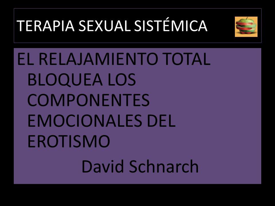 TERAPIA SEXUAL SISTÉMICA EL RELAJAMIENTO TOTAL BLOQUEA LOS COMPONENTES EMOCIONALES DEL EROTISMO David Schnarch