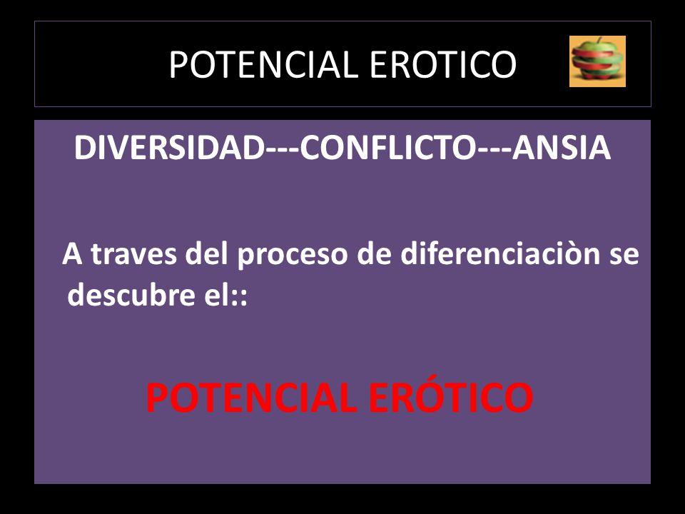 POTENCIAL EROTICO DIVERSIDAD---CONFLICTO---ANSIA A traves del proceso de diferenciaciòn se descubre el:: POTENCIAL ERÓTICO