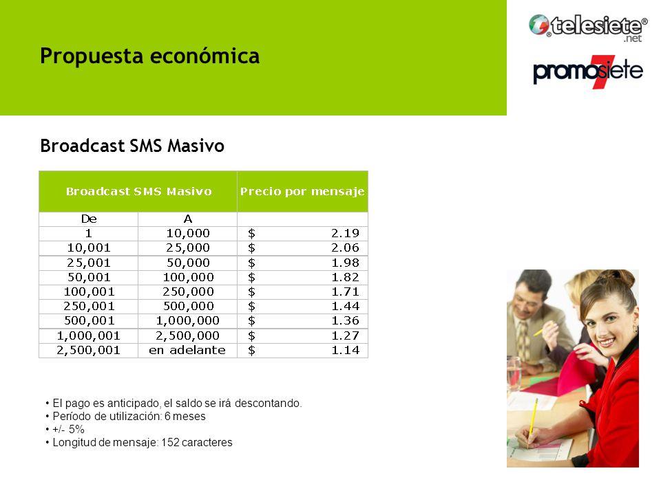 El pago es anticipado, el saldo se irá descontando. Período de utilización: 6 meses +/- 5% Broadcast Telefónico Propuesta económica