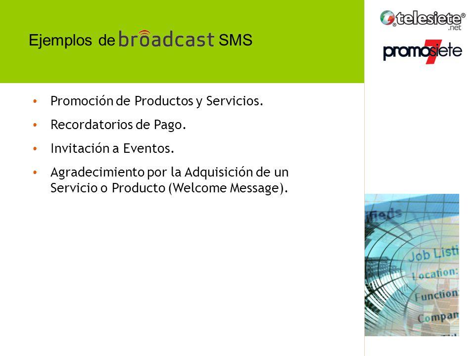 SMS Promoción de Productos y Servicios.Recordatorios de Pago.