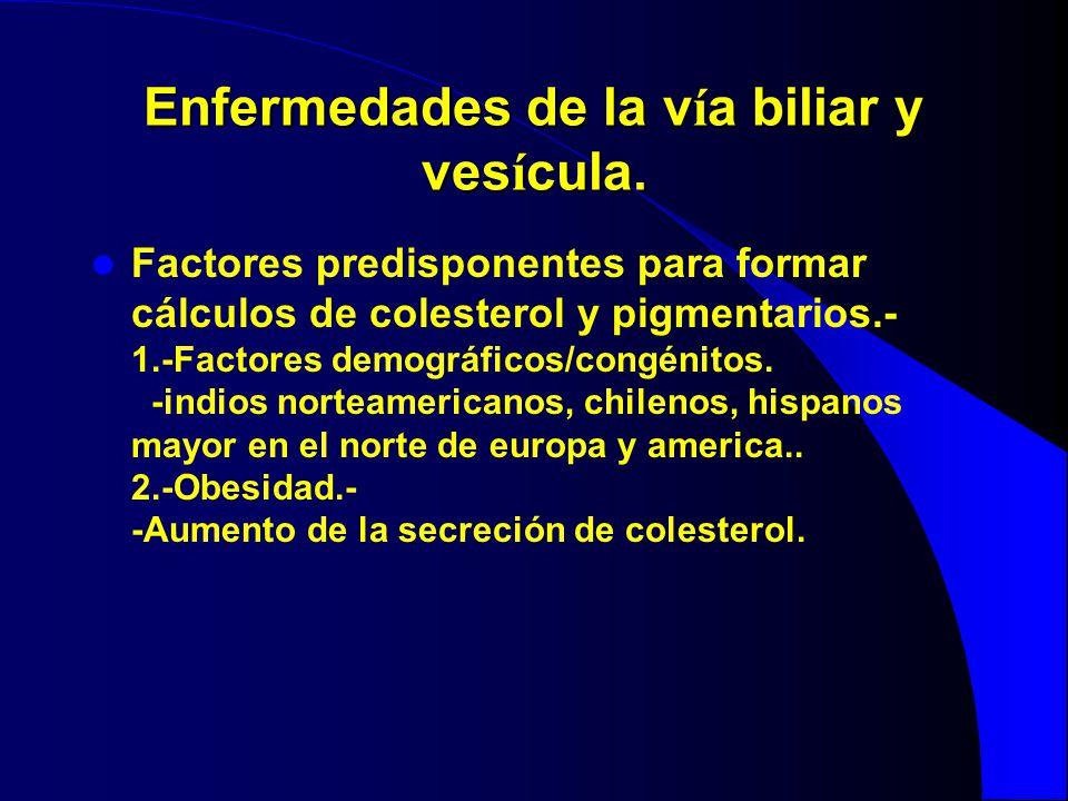 Enfermedades de la v í a biliar y ves í cula. Factores predisponentes para formar cálculos de colesterol y pigmentarios.- 1.-Factores demográficos/con
