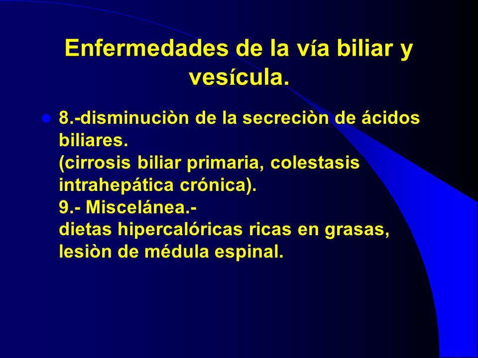 Enfermedades de la v í a biliar y ves í cula. 8.-disminuciòn de la secreciòn de ácidos biliares. (cirrosis biliar primaria, colestasis intrahepática c