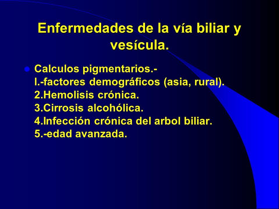 Enfermedades de la v í a biliar y ves í cula. Calculos pigmentarios.- l.-factores demográficos (asia, rural). 2.Hemolisis crónica. 3.Cirrosis alcohóli