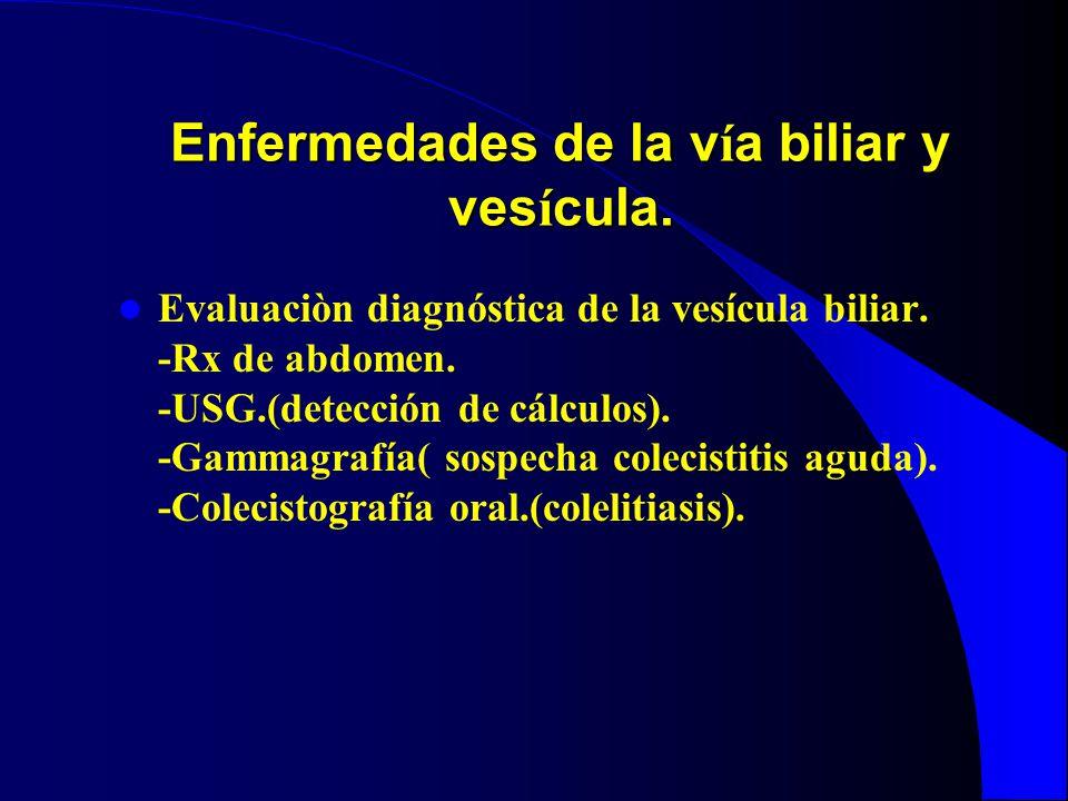 Enfermedades de la v í a biliar y ves í cula. Evaluaciòn diagnóstica de la vesícula biliar. -Rx de abdomen. -USG.(detección de cálculos). -Gammagrafía