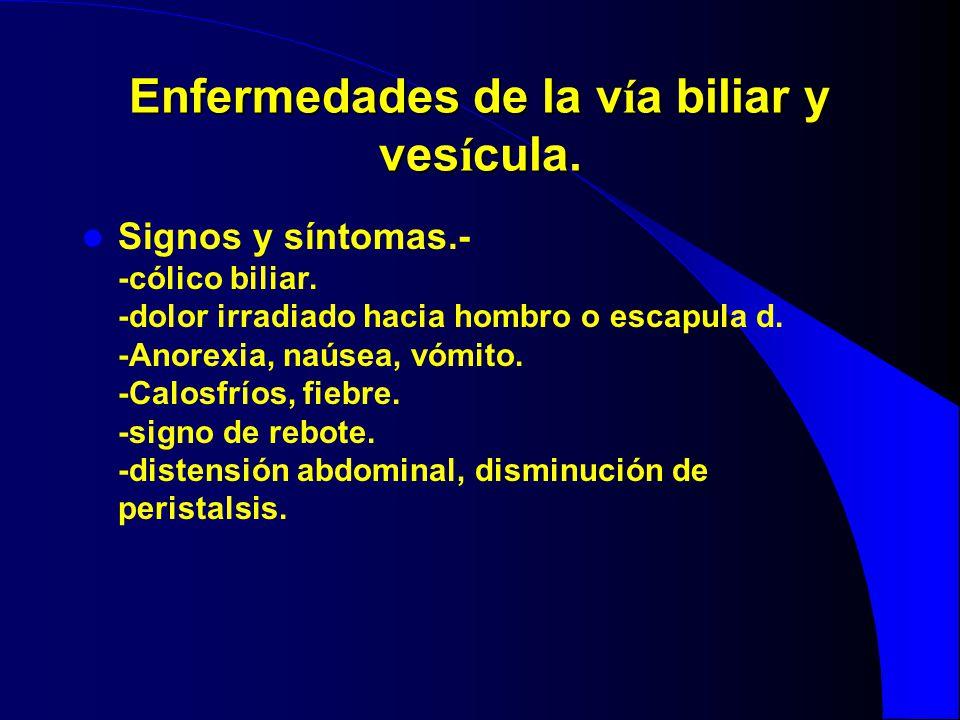 Enfermedades de la v í a biliar y ves í cula. Signos y síntomas.- -cólico biliar. -dolor irradiado hacia hombro o escapula d. -Anorexia, naúsea, vómit