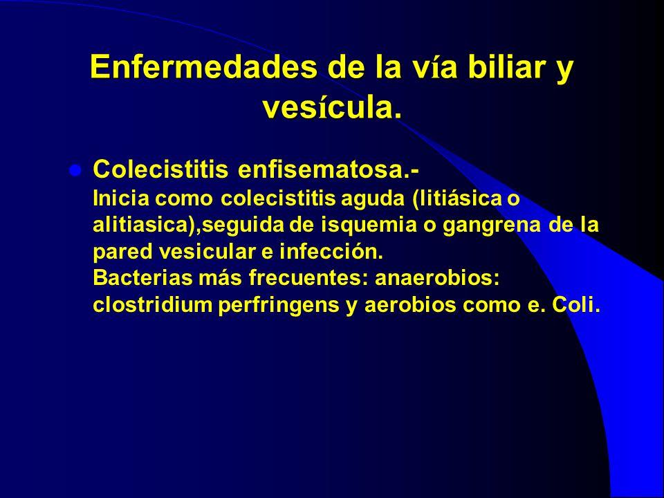 Enfermedades de la v í a biliar y ves í cula. Colecistitis enfisematosa.- Inicia como colecistitis aguda (litiásica o alitiasica),seguida de isquemia