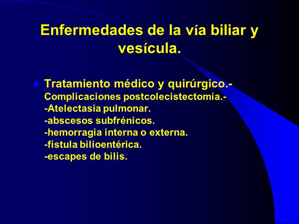 Enfermedades de la v í a biliar y ves í cula. Tratamiento médico y quirúrgico.- Complicaciones postcolecistectomía.- -Atelectasia pulmonar. -abscesos