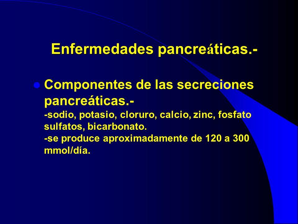 Enfermedades pancre á ticas.- Componentes de las secreciones pancreáticas.- -sodio, potasio, cloruro, calcio, zinc, fosfato sulfatos, bicarbonato. -se
